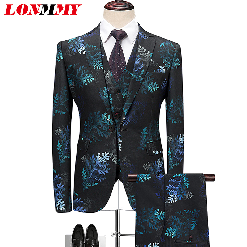LONMMY Plus Size 6XL Mens Blazers Fashion Dress Suits Mens Casual 3 Pieces Sets Plant Flower Pattern Blazer 2018 New Spring
