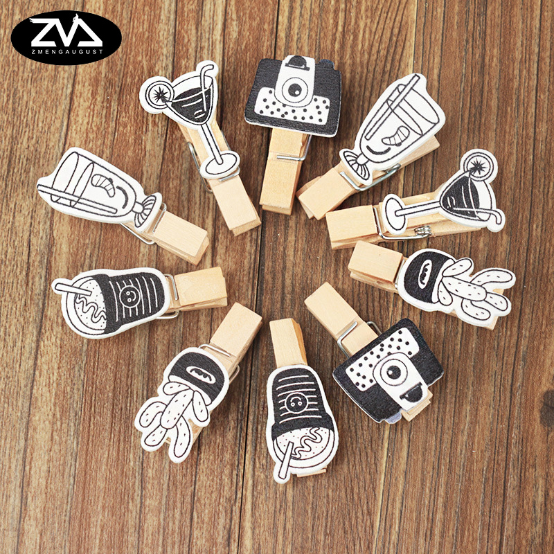 10Pcs/lots Black And White Fashion Twine Wooden Clip Photo Paper Postcard Craft DIY Decoration Clips Office Binding Supplies