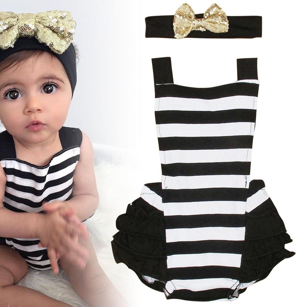 Children Kids Bodysuit Jumpsuit Jumper Stripe Outfits Newborn Cute Clothes FJ88