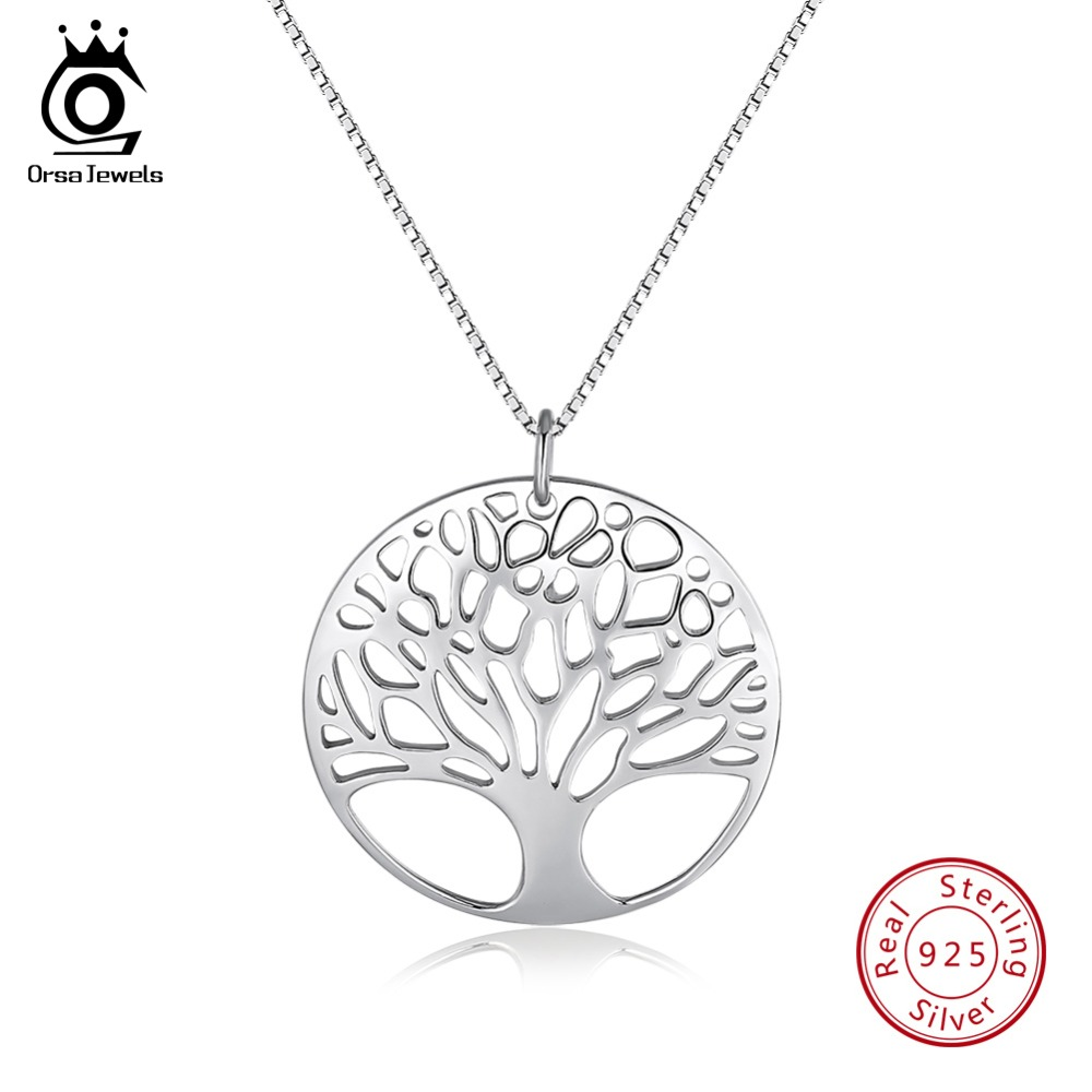 ORSA JEWELS Genuine 925 Sterling Silver Pendants Necklaces Round Hallow Tree Of Life Pendant Silver Box Chain Girl Jewelry OSN90ORSA JEWELS Genuine 925 Sterling Silver Pendants Necklaces Round Hallow Tree Of Life Pendant Silver Box Chain Girl Jewelry OSN90