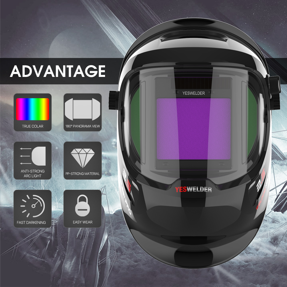 YESWELDER Large Viewing True Color Solar Powered Auto Darkening Silver Welding Helmet with Side View 4