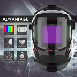 YESWELDER Grote Bekijken Lashelm True Kleur Lassen Masker Auto Verduistering Zilver met Zijaanzicht, 4 Arc Sensor LYG-Q800D