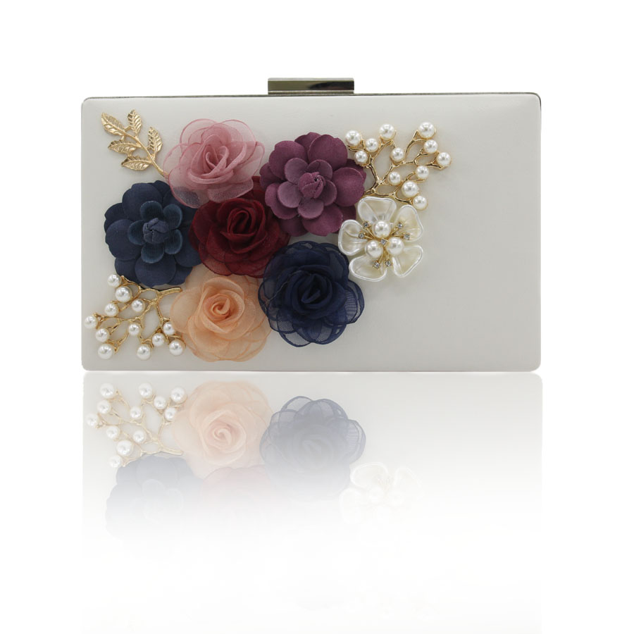 2017 New Arrival Day Clutches Women Hard Two Minaudiere Floral Pu The Flower With Pearl Drill Evening Special Wedding Bag