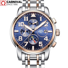 Carnival Luxury Brand Men's Watch Automatic Mechanical Watches Full Steel Multifunction Waterproof Male Casual Business Watch