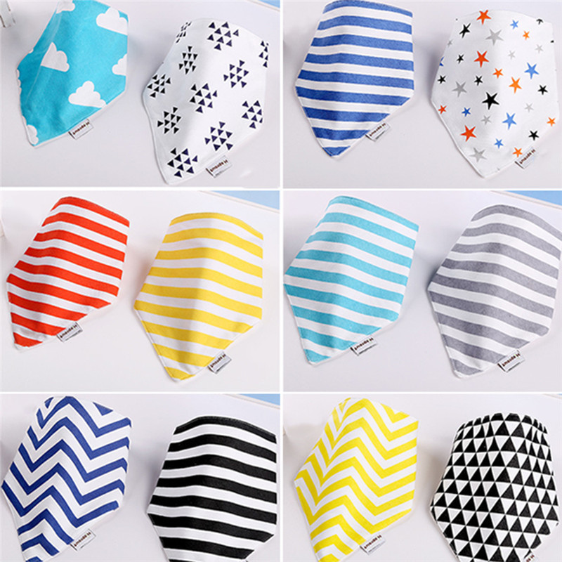 Newest 2Pcs/lot Lovely stripe Baby Bibs WIth Buckle Newborn Cotton Soft Triangle Scarf Toddlers Chestpiece Saliva Towel