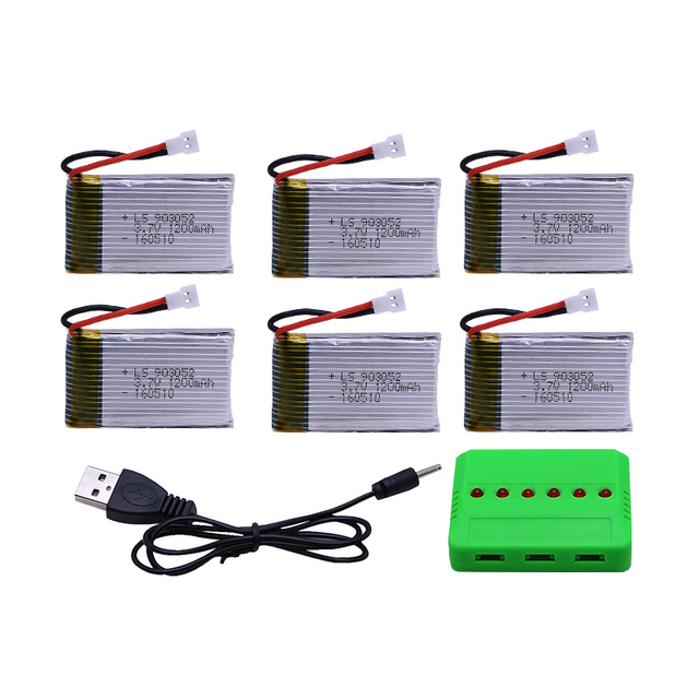 6 in 1 Charger Set with 4/5/6 pcs 3.7V 1200mAh Lipo Battery for Syma X5SW X5SC RC Quadcopter Wholesale Dropship Free shipping