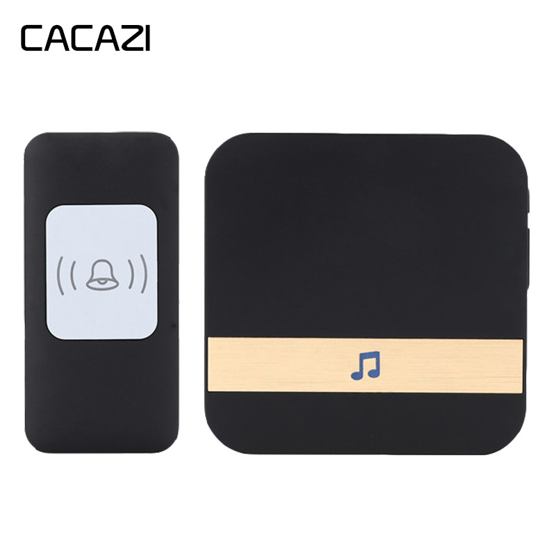 CACAZI Wireless <font><b>Doorbell</b></font> Waterproof 300m <font><b>Remote</b></font> LED Light Battery Button Receiver Home Cordless Bell 52 Chimes 4 Volume image