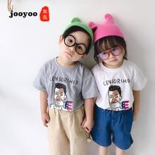 Bebê Desgaste do Verão Nova Marca Menino Novo Retrato Impresso T-shirt Do Bebê Curto-de mangas compridas Camisas de Fundo