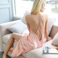 Pink 100% Mulberry Silk Sleep Wear Nighties for Women Night Wear Lingerie Nightgown Satin Nighty Sleepwear Woman Sexy Nightdress