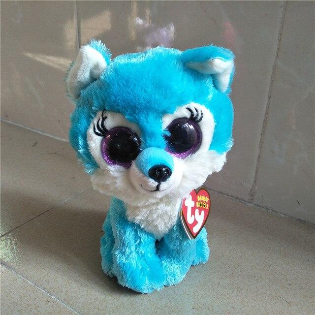 b30e0c78379 Ty Beanie Boos Green wolf Plush 15CM Big Eyes Beanie Baby Plush Stuffed  Doll Toy Collectible Soft Plush Toys