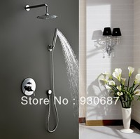 Fashion Conceal Polished Chrome Solid Brass Faucet Bathtub Shower Faucet Round Rainfall Top Shower Head Single