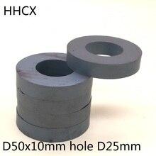 5 개/몫 y30 링 페라이트 자석 50*10 mm 구멍 25mm 영구 자석 50mm x 10mm 블랙 라운드 스피커 50x10 50 25*10