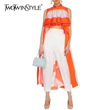 TWOTWINSTYLE Casual Striped Asymmetrical Blouse Women Stand Sleeveless Ruffles Hit Color Female Clothes Spring Fashion 2019 New(China)
