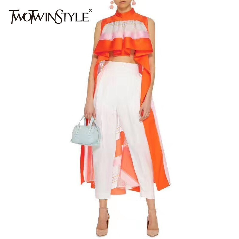 TWOTWINSTYLE Casual Striped Asymmetrical Blouse Women Stand Sleeveless Ruffles Hit Color Female Clothes Spring Fashion 2020 New