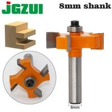 1 adet 8mm Shank T tipi rulmanlar ahşap freze kesicisi Endüstriyel Sınıf Rabbim Bit ağaç İşleme aleti freze uçları ahşap