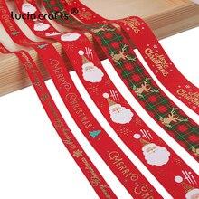 5 ярдов/партия, 10 мм/15 мм/25 мм, Полиэстеровые ленты с рождественской печатью, ленты для рукоделия, рождественские вечерние ленты для обертывания, материалы для декора, материал X0203