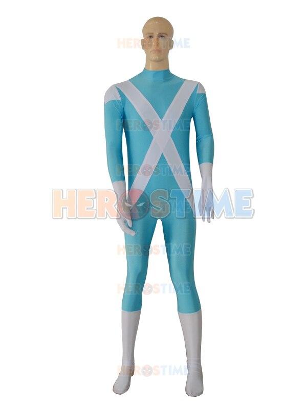 Iceman Cosplay Comics Costume X-men Male  Superhero Costume Halloween Cosplay Costume Blue and white Spandex Fullbody Zentai