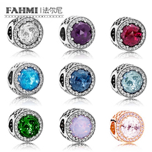 FAHMI 2017 NEWEST 100% 925 Sterling Silver Charm Radiant Hearts Wth Clear Cz Rose Gold Charm beads Fit DIY Bracelet Wholesale