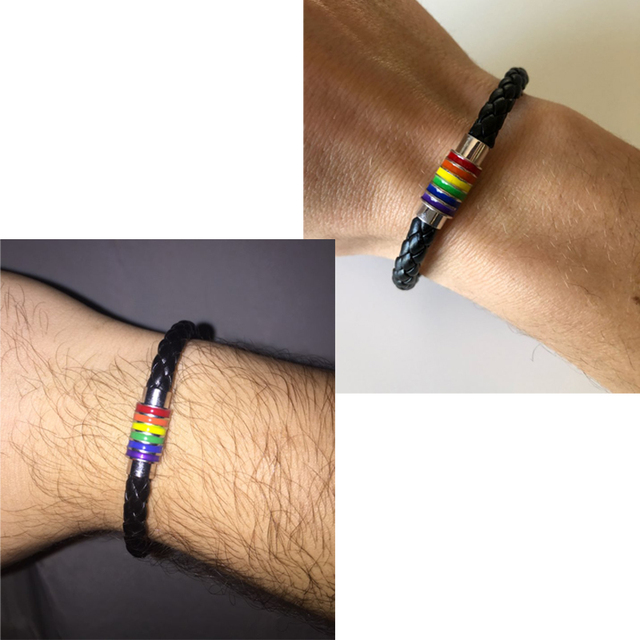 Itenice 2018 New Black Brown Genuine Braided Leather Bracelet Women Men Stainless Steel Gay Pride Rainbow Magnetic Bracelet Gift 3