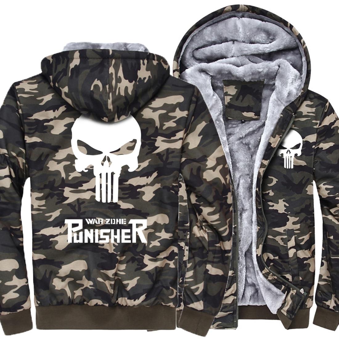 2019 Mens Fashion Brand High Quality Sweatshirts Camouflage Thick Hoody Print harajuku Skull Punk Hip Hop Fitness Hoodies men