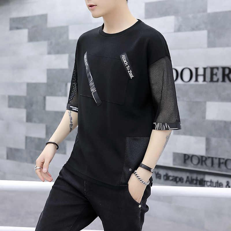 Popular Streetwear negro sólido de manga corta Camiseta Hombre suelto nuevo joven transparente media manga hombres camiseta carta cinta