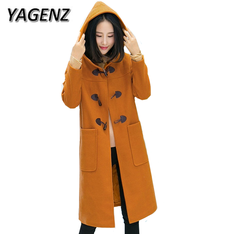 New Winter Wool Jacket Warm Hooded Coats Women Clothing Casual Fashion Thick Horn Button Long Coat Solid Winter Jacket Female 2017 new winter fashion women down jacket hooded thick super warm medium long female coat long sleeve slim big yards parkas nz18