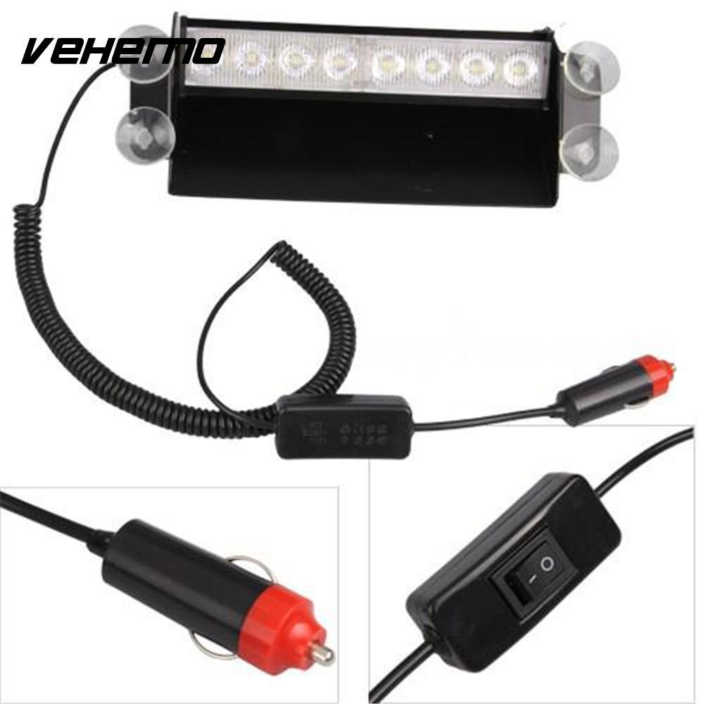 Vehemo 12V 8 LED Fire Car Deck Truck Dash Strobe Flash Warning car Light Amber/White Bulb