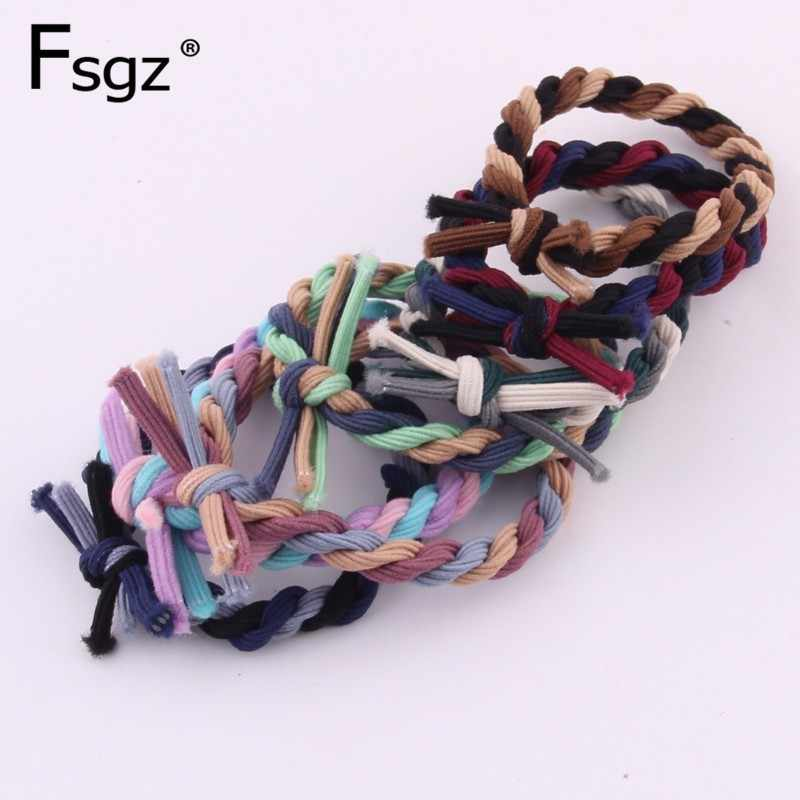 Fashion Ethnic Elastic Hair Bands For Women Three-color Braided Hair Gums High Stretchable Hair Tie Ponytail Ring Hair Access