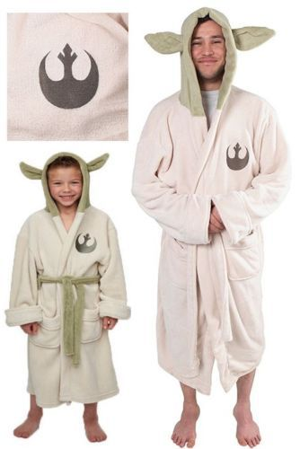 Star Wars Lucasfilm Yoda Both Robe Costume Cosplay Jedi Fleece Hooded BathRobe Dress Gown Adulti Bambini Bambino Pigiama Sleeping Wear
