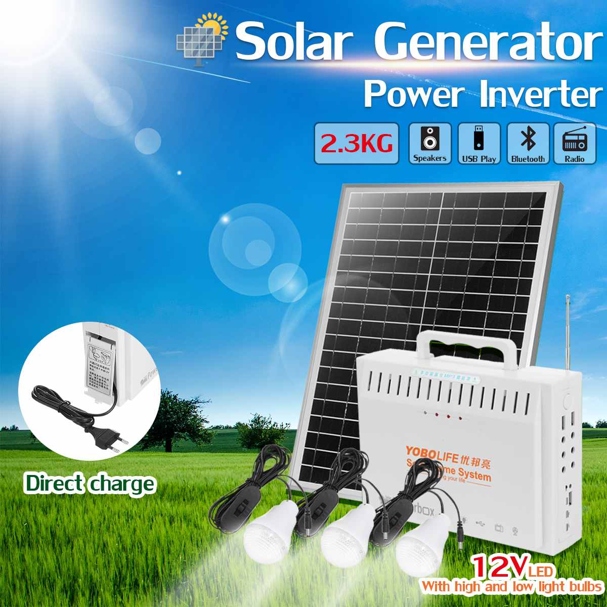20W 18V Solar Panel RV Boat Power Storage Generator With 3 LED Light USB Charger System
