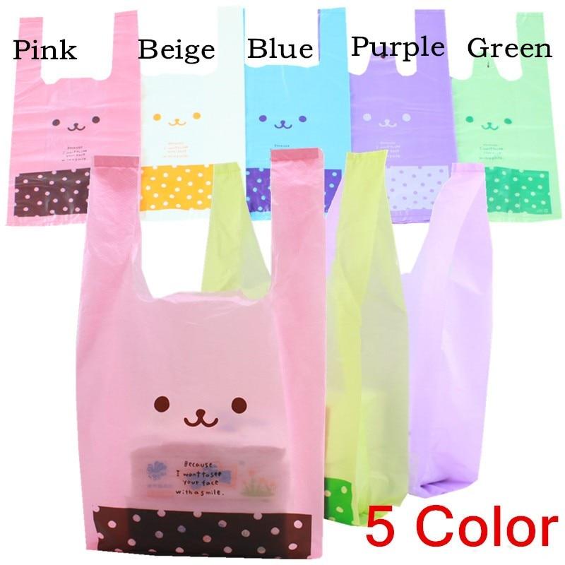 23*40cm Cartoon Smile Polka Dot Tote Shopping Vest Plastic Handbag / Merchandise Bag / Grocery Bag / Opp Maga Bag