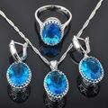 Diseño de huevo Azul Creado Topaz 925 Plata de La Joyería de Las Mujeres Pendientes/Colgante/Collar/Anillos de Envío gratis QZ003