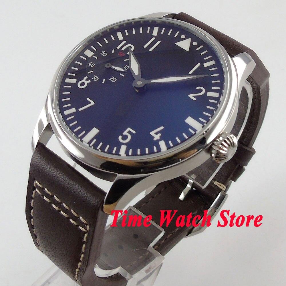 лучшая цена Parnis 44mm black dial luminous pumpkin crown 6497 hand winding movement Men's watch 607