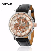 OUTAD Men Skeleton Mechanical Hand Wind Watch Leather Luxury Male Montre Homme Rome Number Display Wristwatch
