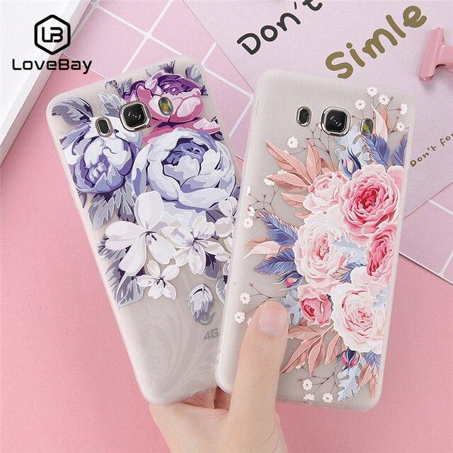 Lovebay Ốp Lưng Điện thoại Samsung Galaxy S7 S8 S9 Plus A3 A5 A7 J3 J5 J7 Thời Trang 3D Mềm Mại Giảm hoa Floral Bao Bọc Điện Thoại