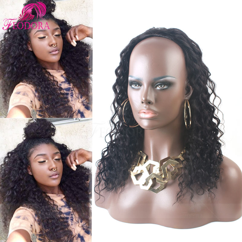 No Lace Wig Human Hair Half Wigs Curly 3/4 Wig Cap 7A Virgin Brazilian Human Hair Wig Extensions For Black Women Customized Sale