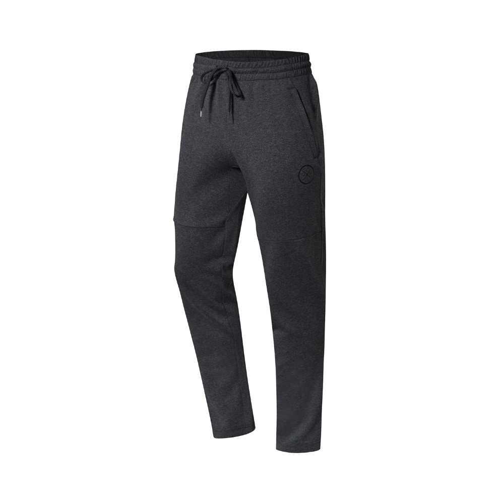 Li-Ning, мужские спортивные штаны серии Wade, 82% хлопок, 18% полиэстер, обычная посадка, подкладка, спортивные штаны, брюки AKLN669 MKY404