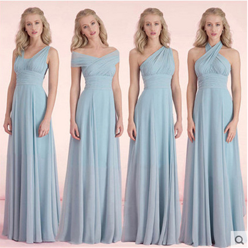 f74b2ec77e61 2016 Dusty Blue Pastel Pink Chiffon Long Bridesmaid Dresses One Shoulder  Sweetehart Floor Length Prom Dress Bito Damigella on Aliexpress.com |  Alibaba Group