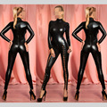 Sexy Erotic Black Faux Leather Leotard Rivet Lace Up Turtleneck Bodysuit 2016 Costumes Wetlook Catsuit Jumpsuit