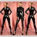 Sexy Erotic Negro de Cuero de Imitación Wetlook Catsuit Leotardo Remache Ata Para Arriba de Cuello Alto Traje 2016 Trajes Mono