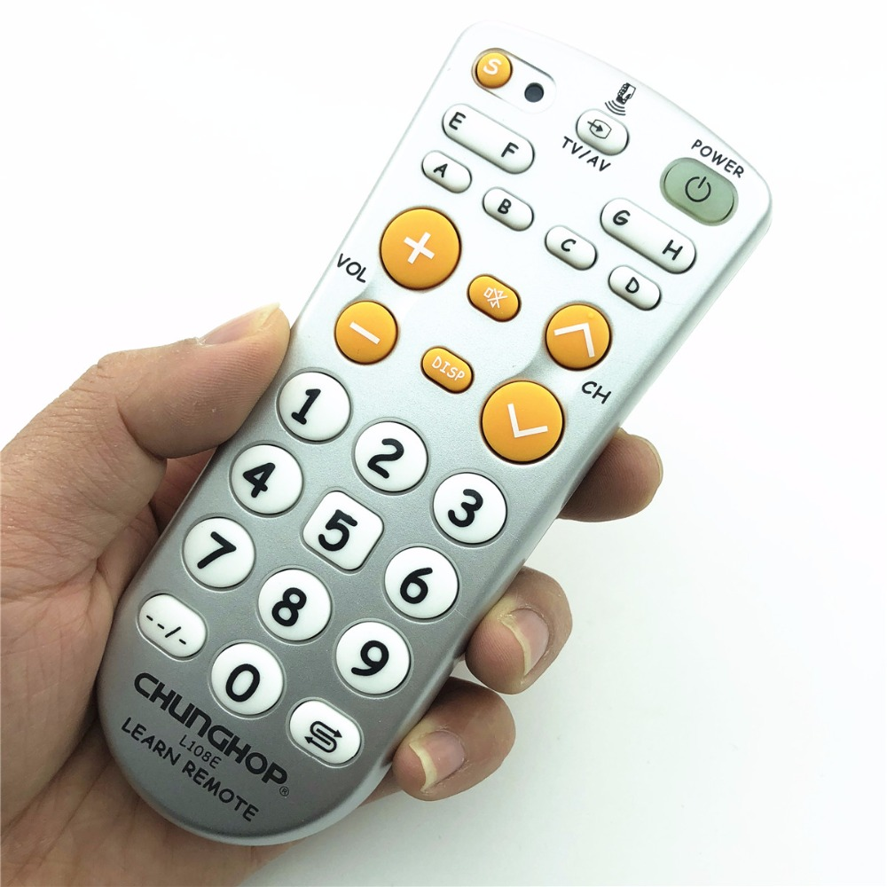 1pcs Combinational Universal learning Remote Control controller Chunghop L108E For TV/SAT/DVD/CBL/DVB-T/AUX big button copy chunghop universal learning remote control controller l309 for tv sat dvd cbl dvb t aux big key large buttons copy