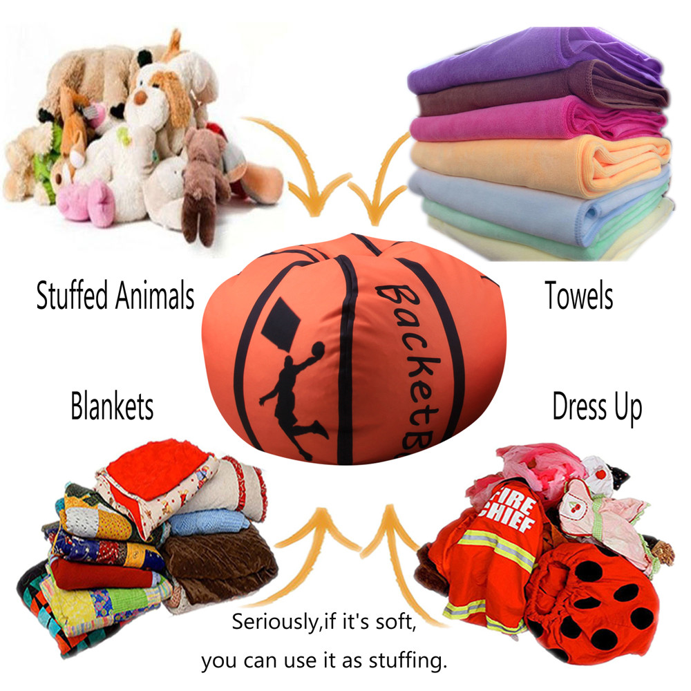 Humble Home Storage Bag Children Plush Animal Plush Basketball Style Toy Storage Bean Bag Soft Bag Fabric Chair L0329 Refreshment Foldable Storage Bags
