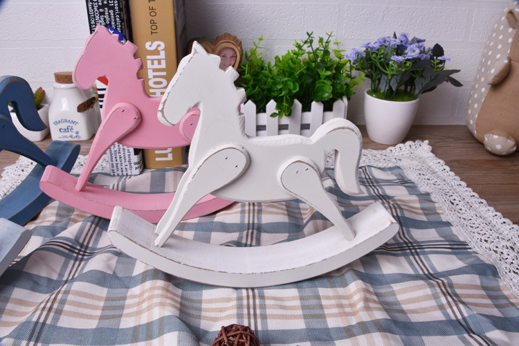 1PC Wooden Rocking Horse Balance Home Decor Kids Toys wood hand Carved Gifts Childrens Room Decoration Wood Crafts NU 001