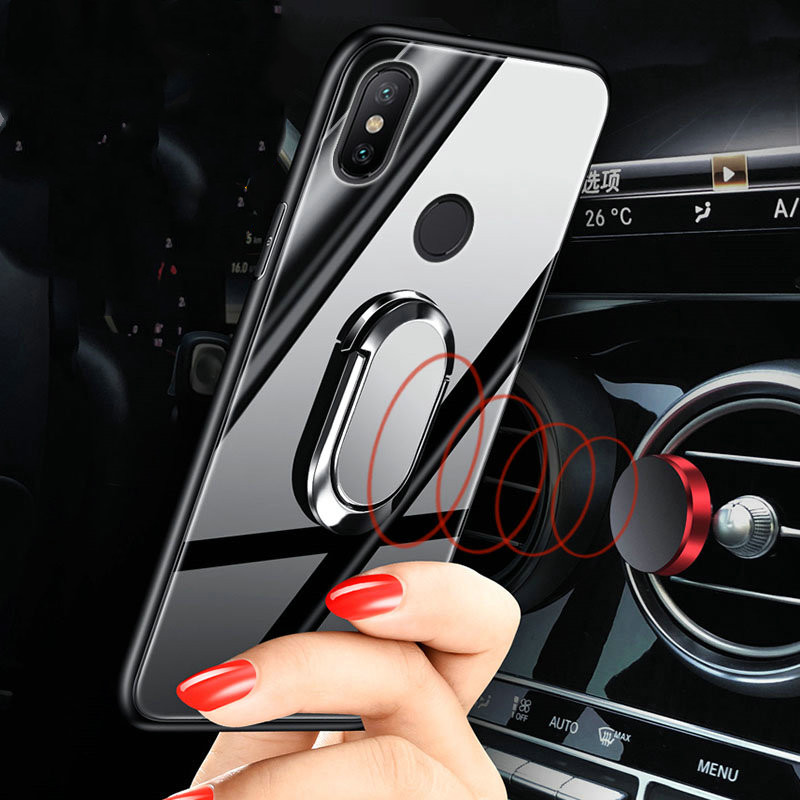 Xiaomi Redmi Note 6  pro case cover note6 Global Version back silicone tempered glass magnetic car holder coque cases