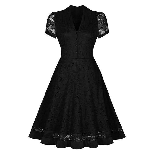 97aa6b572b9 Sisjuly 1950 s V-ausschnitt Sommer Knielangen Kleider Sexy Schwarz Vintage  Kleid 2017 Spitze Button