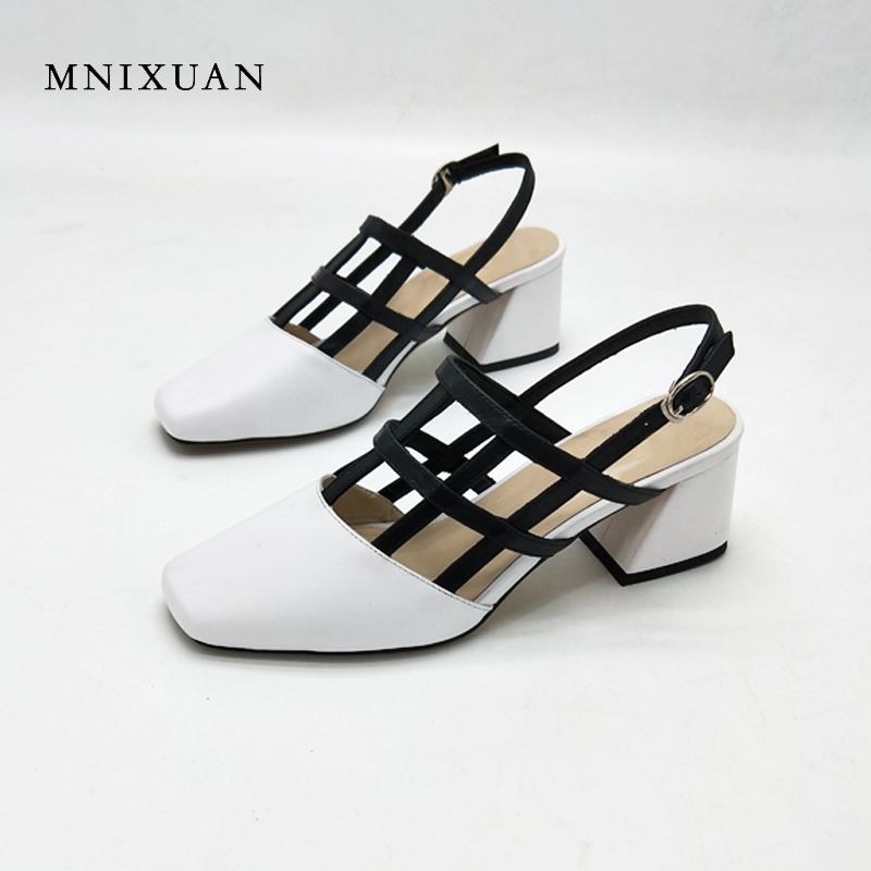 MNIXUAN fashion women sandals 2018 ladies summer shoes genuine leather covered toe 5cm medium thick high heels big size10 34-43 mnixuan women slippers sandals summer
