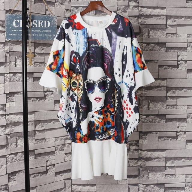 aaa086cc77b5 New Cartoon Pretty Girl Printed T-Shirt Dress Harajuku Loose Round Neck  Dress Oversize Ruffle Sleeve Sequined Tshirt Dresses