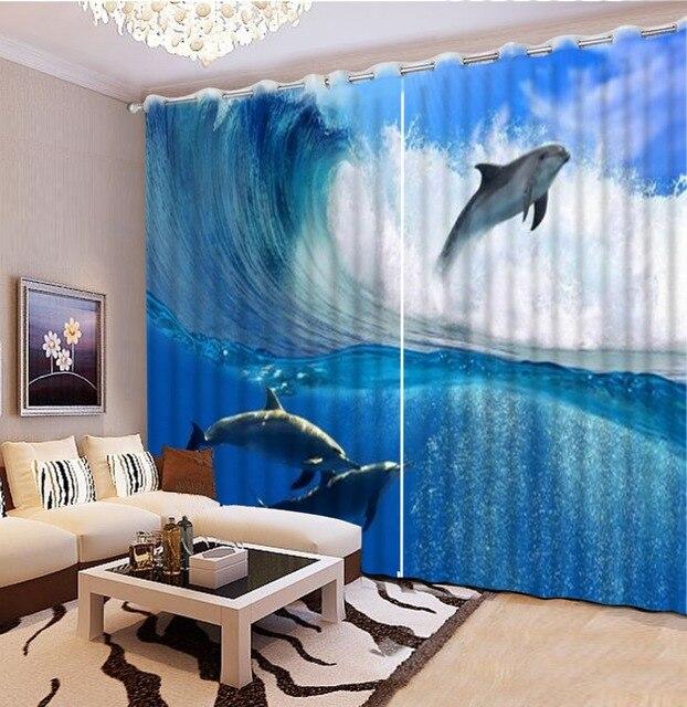 Großhandel 3D Raum tapeten strand delphin vorhänge für wohnzimmer ...