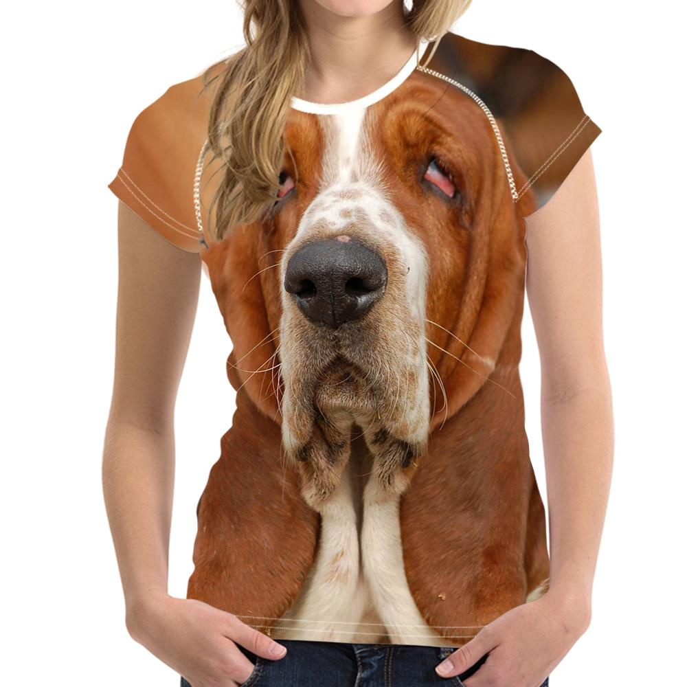NOISYDESIGNS Carino 3D Cane Basset Hound Stampa Donna Maglietta di Estate di Modo di Marca Femminile T-Shirt Respiro O Collo Manica Corta tee