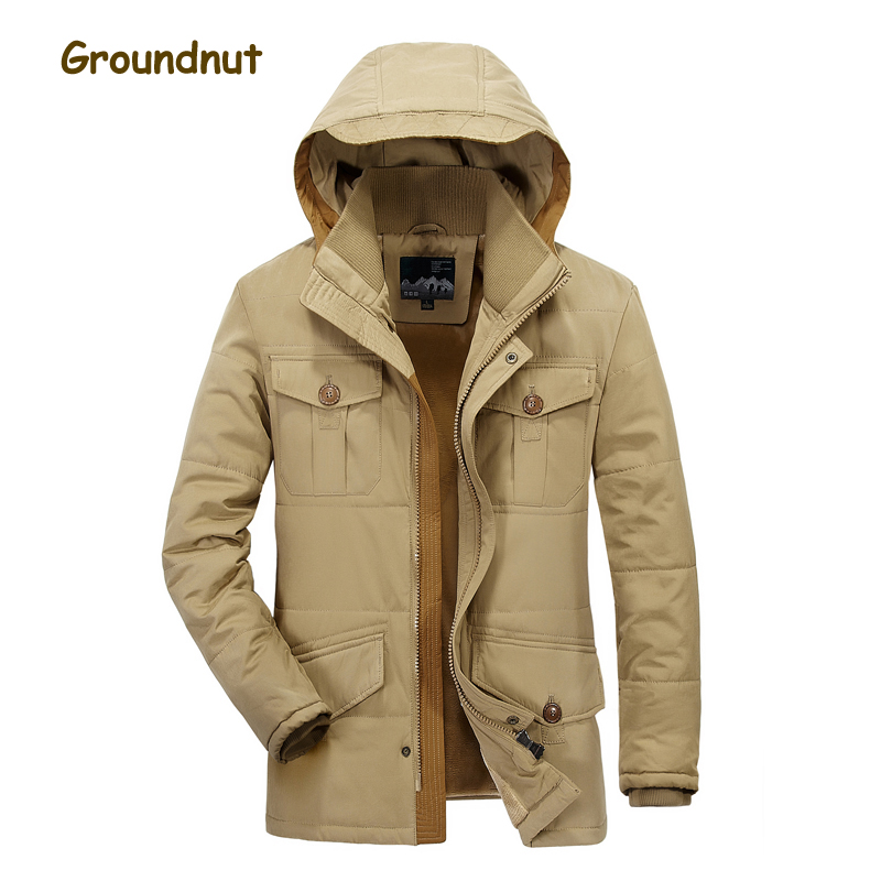 Groundnut Brand Thick Fleece Warm Winter Parkas Men Hooded Zipper Pockets Cotton Coats Outerwear Khaki Army Green Plus Size